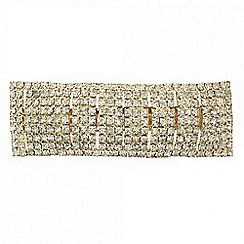 Mood - Diamante crystal rectangular gold hair barrette