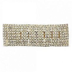 Mood - Diamante crystal rectangular gold hair barrette
