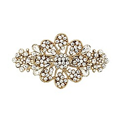 Mood - Crystal embellished gold floral hair barrette