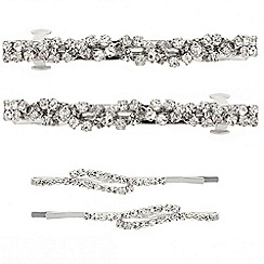 Mood - Diamante crystal twist hair barrette and slide pack
