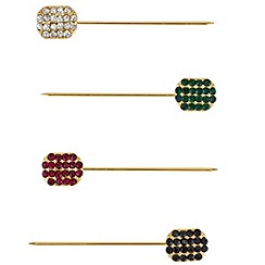 Mood - Set of four crystal embellished scarf pins