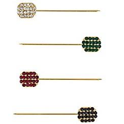 Mood - Set of four crystal embellished scarf pins