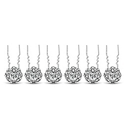 Mood - Set of six round crystal surround hair pins