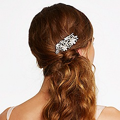 Mood - Silver pearl and crystal embellished floral hair comb