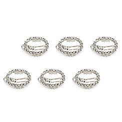 Mood - Set of 6 silver crystal surround open oval hair pins