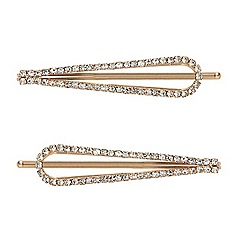 Mood - Set of two gold crystal surround hair pins
