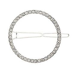 Mood - Silver diamante crystal open circle barrette