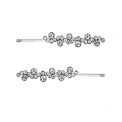 Mood - Set of two silver crystal embellished hair slides