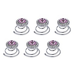 Mood - Online exclusive set of six pink crystal hair twistees