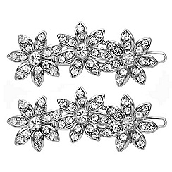 Mood - Set of two crystal embellished floral hair combs