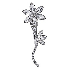 Mood - Silver crystal flower stem hair clip