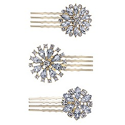 Mood - Pack of three floral crystal hair combs