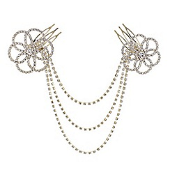 Mood - Gold crystal flower chain link hair comb