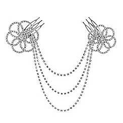 Mood - Silver crystal open flower double hair comb
