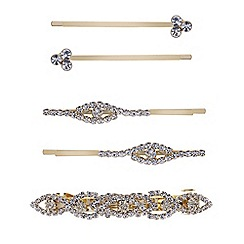 Mood - Diamante gold mixed hair slide pack