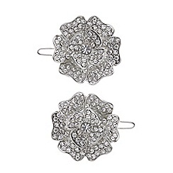 Mood - Set of two silver crystal flower hair clips
