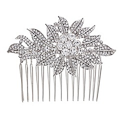 Mood - Silver crystal floral leaf hair comb