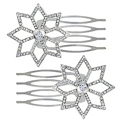 Mood - Silver crystal open flower hair comb set