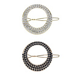 Mood - Multi tone pave circle hair clip set