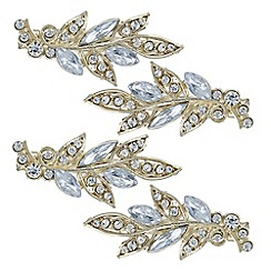 Mood - Gold ornate leaf hair clip set