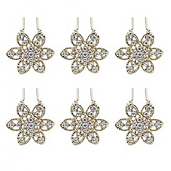 Mood - Gold floral crystal hair pin set