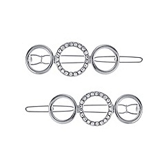 Mood - Silver pave open circle hair slide set