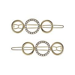Mood - Gold pave open circle hair slide set