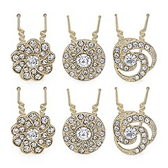 Mood - Gold crystal floral hair pin set