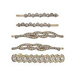 Mood - Gold crystal hair clip set
