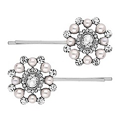 Mood - Crystal and pearl cluster hair slide set