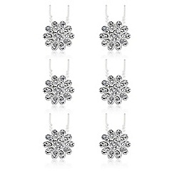 Mood - Silver crystal floral hair pin set