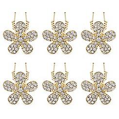 Mood - Gold crystal flower hair pin set