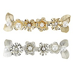 Mood - Multi tone pearl and flower hair clip set