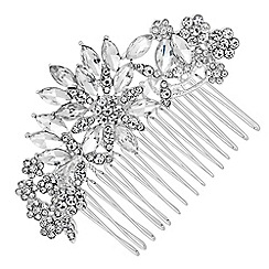 Mood - Silver crystal leaf hair comb
