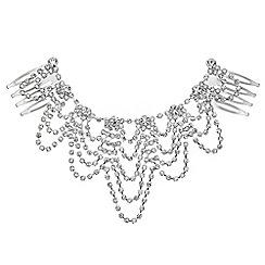 Mood - Silver diamante drape hair comb