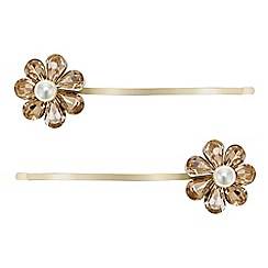 Mood - Gold flower hair slide set