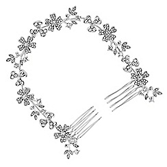 Mood - Silver crystal floral double hair comb