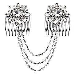 Mood - Floral crystal drape double hair comb
