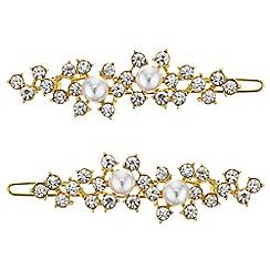 Mood - Gold pearl and crystal hair slide set