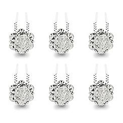 Mood - Crystal flower hair pin set