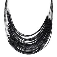 Black seed bead multi row necklace