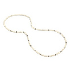 Mood - Cream pearl and crystal rondel long rope necklace