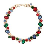 Multicoloured jewel stone chunky chain necklace
