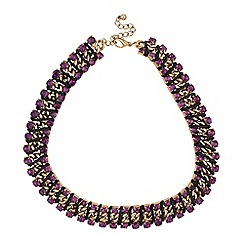 Mood - Purple diamante crystal and cord wrap necklace