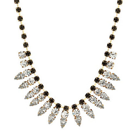 Mood - Green and clear crystal spike necklace