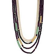 Mixed purple bead and gold chain multirow necklace