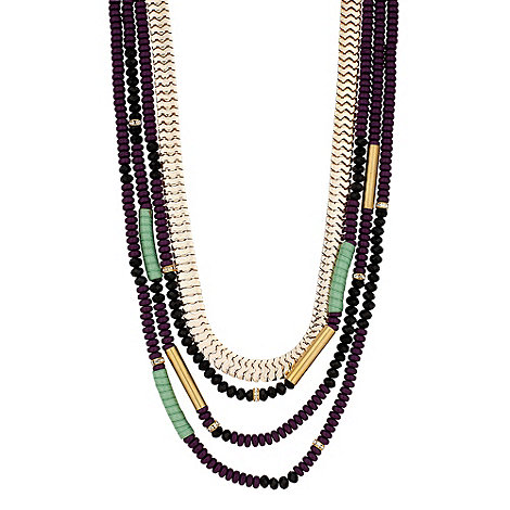 Mood - Mixed purple bead and gold chain multirow necklace