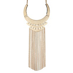 Mood - Statement gold triple panel tassel drop necklace