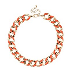 Mood - Orange enamel chunky chain necklace