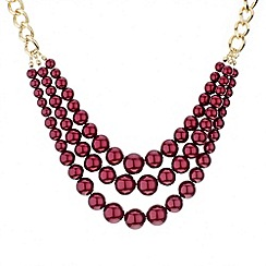 Mood - Triple row burgundy pearl chain necklace
